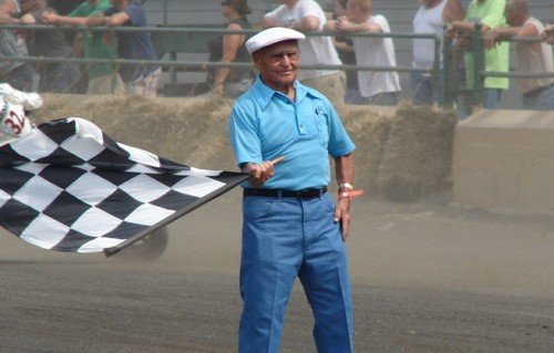 Al Wilcox Waving the Checkered Flag