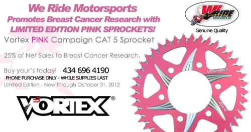 Pink Sprockets for Breast Cancer Awareness Month - We Ride Motorsports