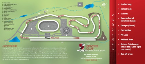 Map of Dominion Raceway